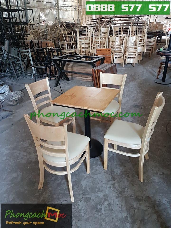 Bàn ghế gỗ khung sắt, bàn ghế gỗ chân sắt, bàn ghế xếp quán nhậu - 1