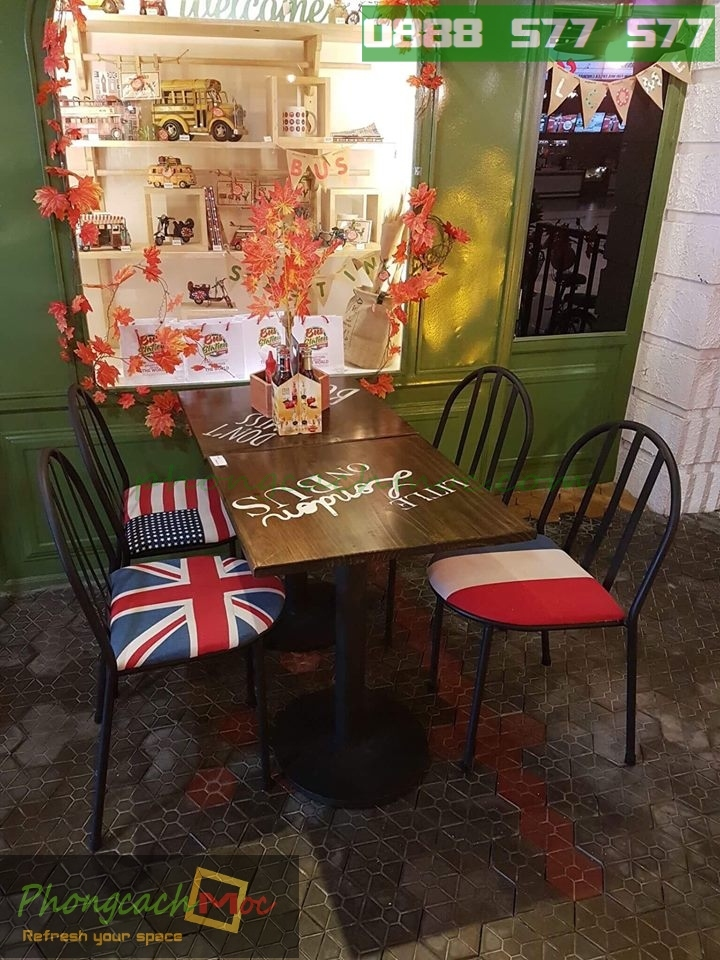 Bàn ghế gỗ khung sắt, bàn ghế gỗ chân sắt, bàn ghế xếp quán nhậu - 2