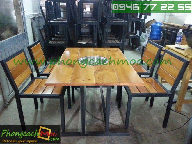 Bàn ghế gỗ khung sắt, bàn ghế gỗ chân sắt, bàn ghế xếp quán nhậu - 11