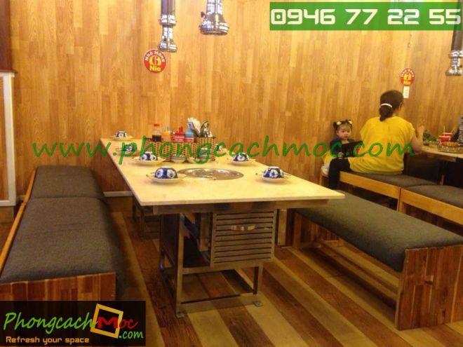 Bàn ghế gỗ khung sắt, bàn ghế gỗ chân sắt, bàn ghế xếp quán nhậu - 10