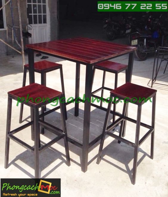 Bàn ghế gỗ khung sắt, bàn ghế gỗ chân sắt, bàn ghế xếp quán nhậu - 9