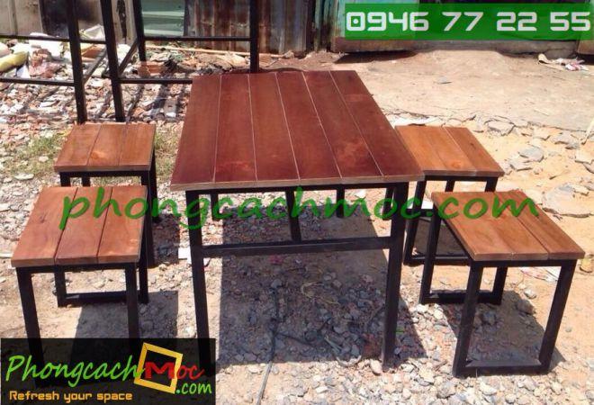Bàn ghế gỗ khung sắt, bàn ghế gỗ chân sắt, bàn ghế xếp quán nhậu - 8
