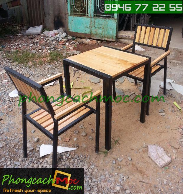 Bàn ghế gỗ khung sắt, bàn ghế gỗ chân sắt, bàn ghế xếp quán nhậu - 7