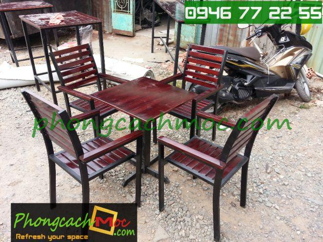 Bàn ghế gỗ khung sắt, bàn ghế gỗ chân sắt, bàn ghế xếp quán nhậu - 6