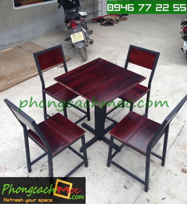 Bàn ghế gỗ khung sắt, bàn ghế gỗ chân sắt, bàn ghế xếp quán nhậu - 5