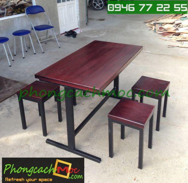 Bàn ghế gỗ khung sắt, bàn ghế gỗ chân sắt, bàn ghế xếp quán nhậu - 4