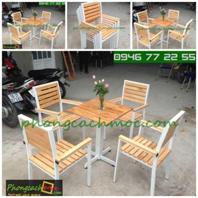 Bàn ghế gỗ khung sắt, bàn ghế gỗ chân sắt, bàn ghế xếp quán nhậu - 3